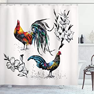 Ambesonne Gallus Shower Curtain, Roosters and Flowers Branches Stems Blooms Blossoms Grasses Wildflowers Artwork, Cloth Fabric Bathroom Decor Set with Hooks, 75
