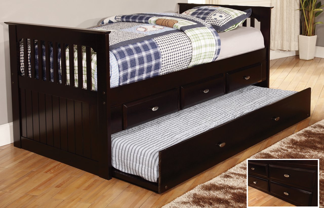 Twin Rake Bed with 3 Drawers and Trundle, Desk, Hutch, Chair and Entertainment Dresser in Espresso Finish