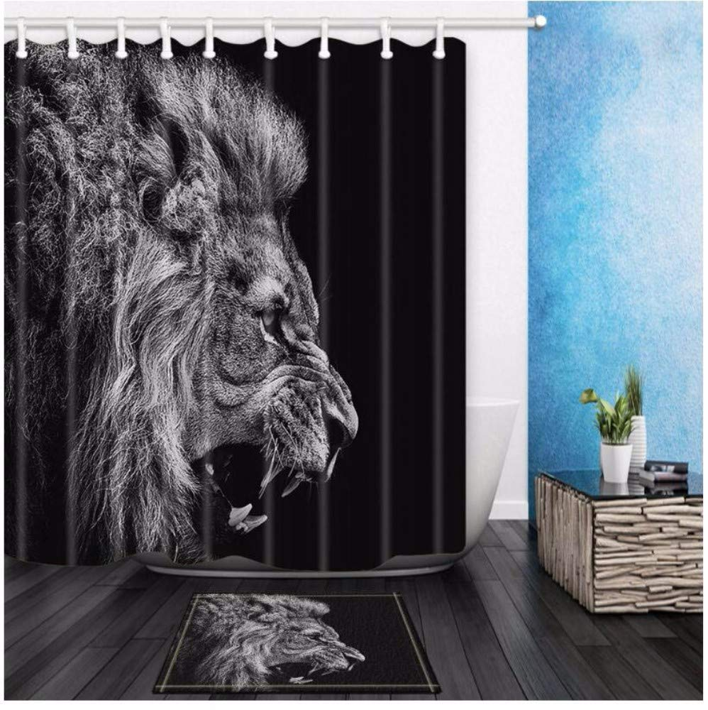 xtszlfj Shower Curtains Fierce Lion Head Black Bathroom Curtains Polyester Fabric Waterproof and Mildew Proof with 12 Plastic Hooks 180x200cm