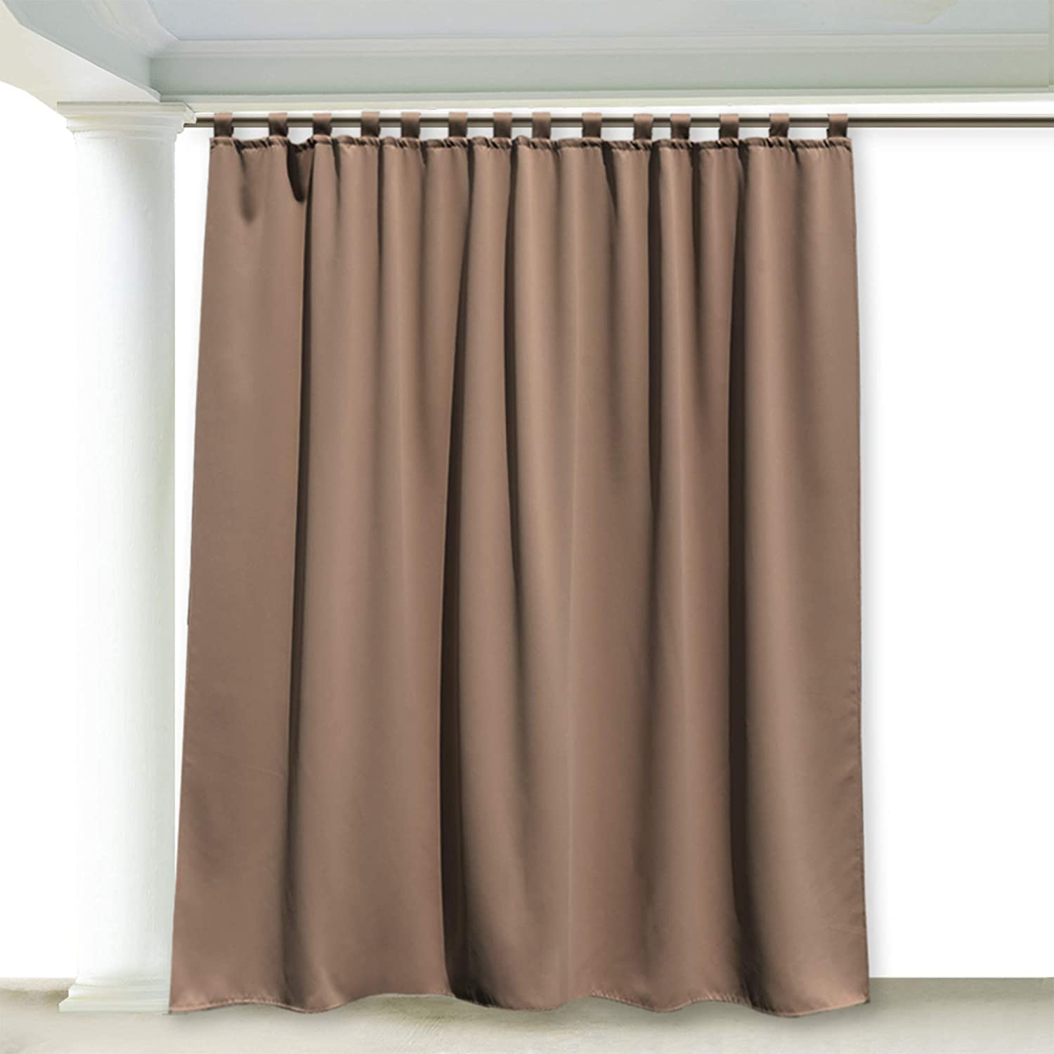 RYB HOME 100 inch Wide Patio Outdoor Curtain, Stain Repellent Privacy for Lawn & Garden, Inside Outside Thermal Insulated UV Ray Block Drape for Cabin / Cabana, Width 100 by Length 108, Mocha