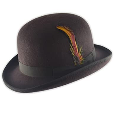 4cdcfe2908c High Quality Hard Top 100% Wool Bowler Hat WITH Feather - Satin Lined -  Sizes