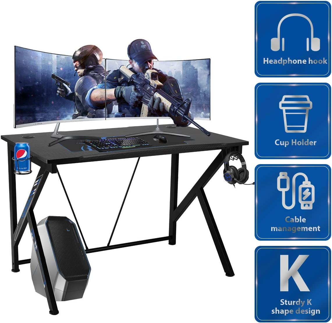 YODOLLA 42.5 Gaming Desk K-Shape Gaming Table Home Computer Desk with Cup Holder and Headphone Hook Gamer Workstation Game Table
