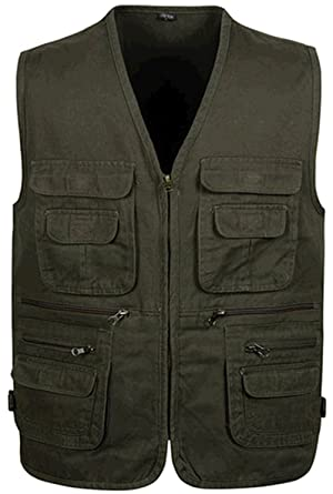 26213eb5652ba WS668 Mens Multi Pocket Zip Sleeveless Jacket Cotton Concealed Carry Vest  Cargo Coats (Medium Tag XL