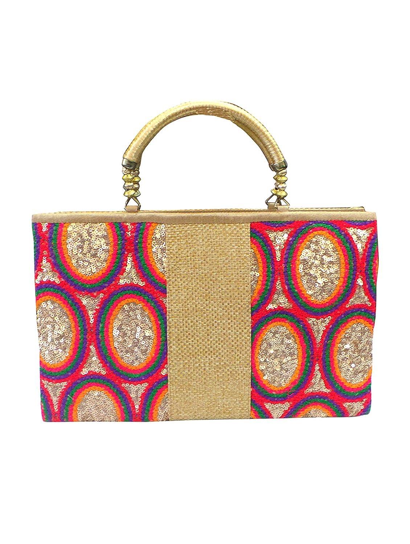 Bhamini Gold Rainbow Sequins Handbag....
