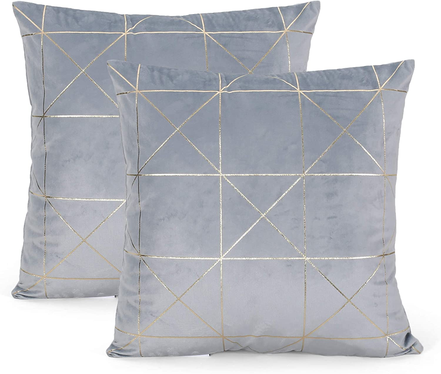 Christopher Knight Home Modern Square Fabric Throw Pillow (Set of 2), Light Gray