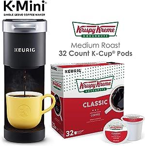 Keurig K-Mini Single Serve Coffee Maker with Krispy Kreme Coffee Pods, 32 count