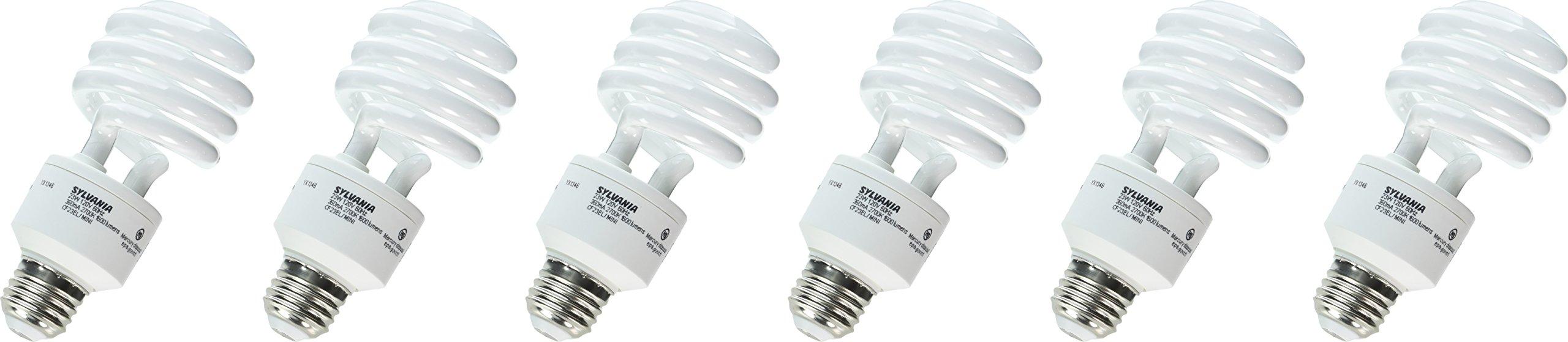 Sylvania 29490 23-Watt CFL Mini Twist Light Bulb, Soft White, 6 pack