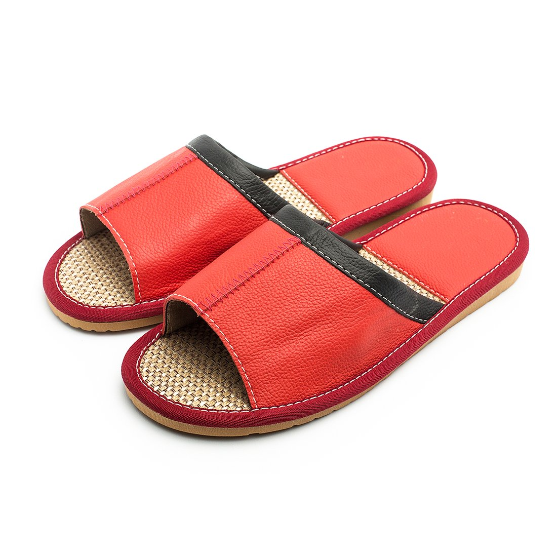Maylian Summer Flat Slippers For Women Indoor Home Leather Slide Sandal(Red,Size 9)