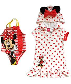 Dreamwave Disney Minnie Mouse Little Girls Swimsuit and Cover Up Dress
