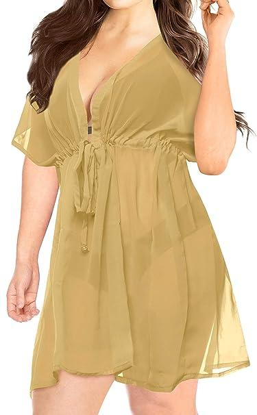 1ff0ace9a9e31 LA LEELA Women s Swimwear Plus size Cover up KImono Beige H899 OSFM 14-24  L