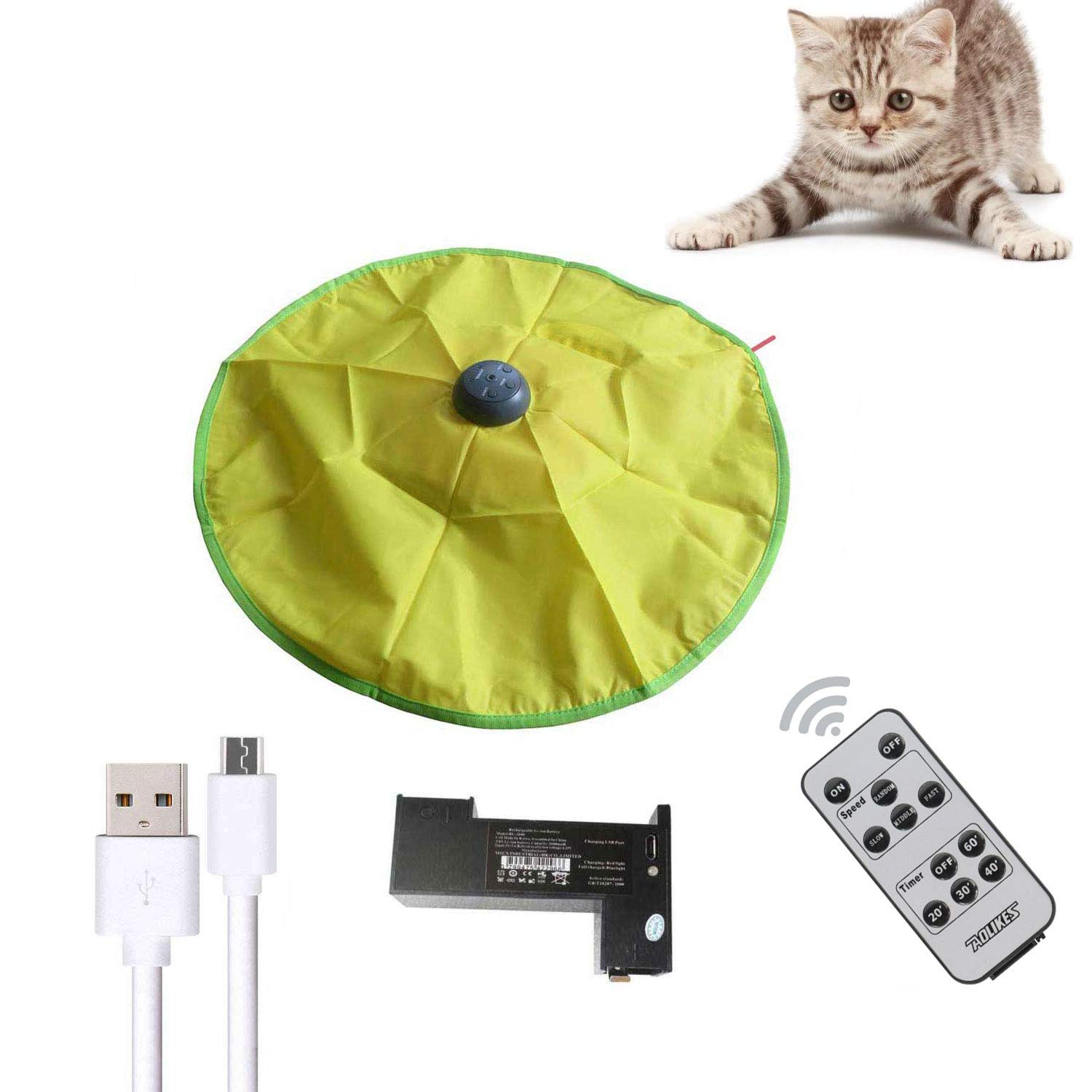 AOLIKES Interactive Cat Toys,Durable Smart Cat Toys with Remote and 3.7v Rechargeable 2600mAh Li-ion Battery,Multiple Timer - Undercover Motorized Mouse Wand Tail for All Ages Cats by AOLIKES