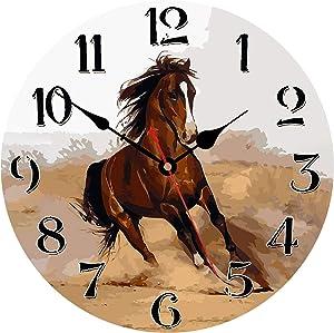 WISKALON Silent Non-Ticking Wooden Decorative Round Wall Clock, Quality Quartz Battery Operated Wall Clocks, 14 Inch Running Horse Home Decor Wall Clocks