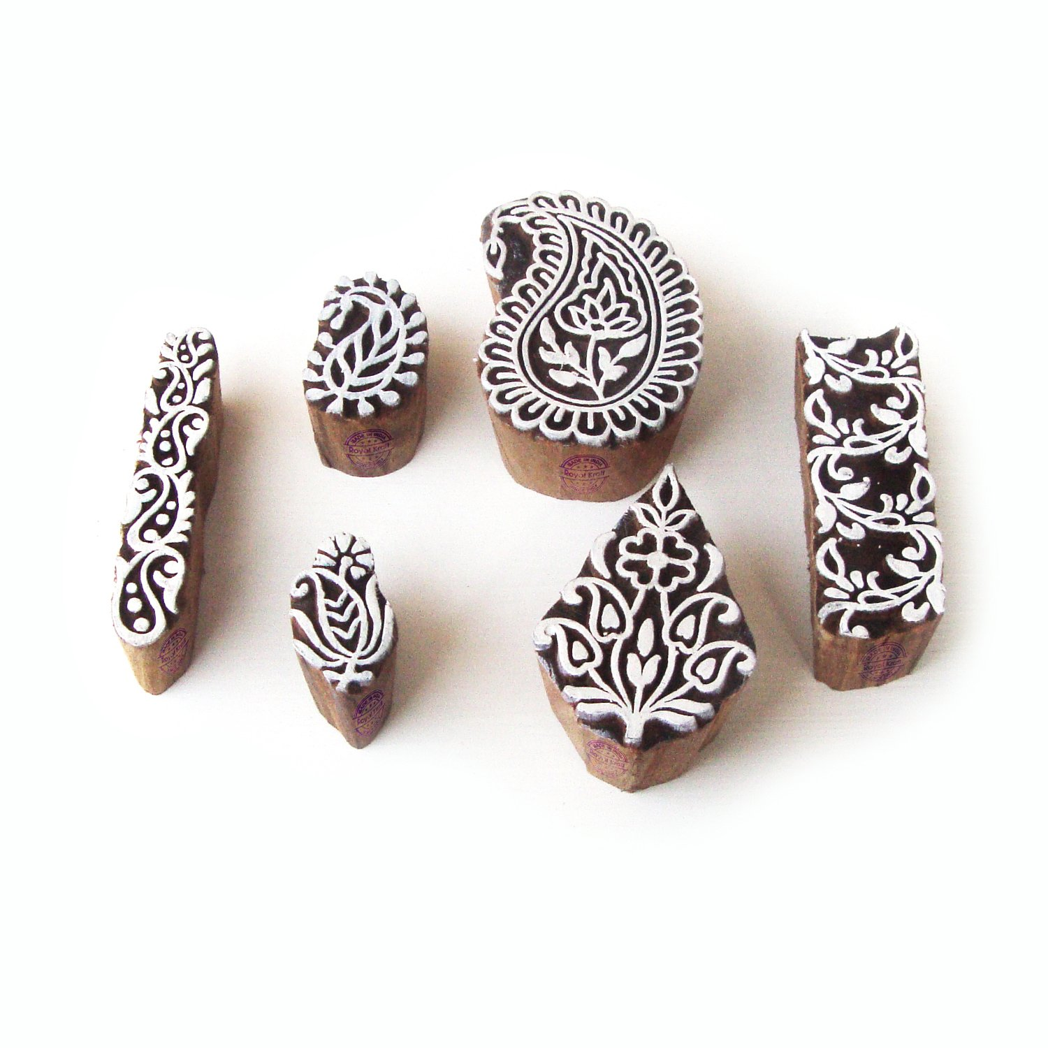 Elegant Paisley and Floral Designs Wooden Printing Stamps (Set of 6)
