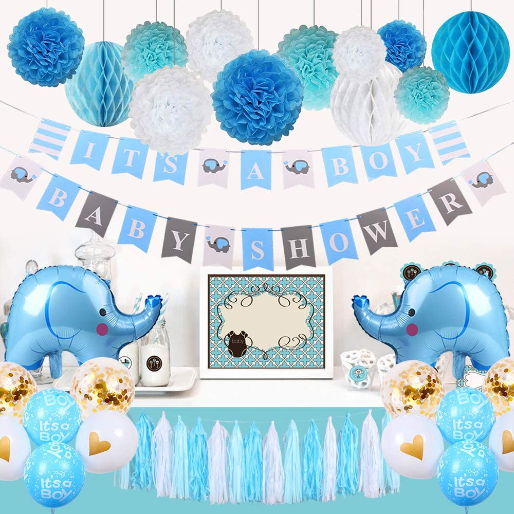 Baby Shower Decorations for Boy, Elephant Theme It's A Boy Party Decor with Tassel Paper Pom Poms, Boy Shower Banners, Honeycomb Balls, Baby Elephant Balloons, Tassel Garland (Blue, Baby Grey, White)