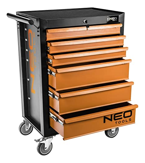 Neo 84 221 6 Drawers Tool Cabinet Orange Black Amazon Co Uk Diy