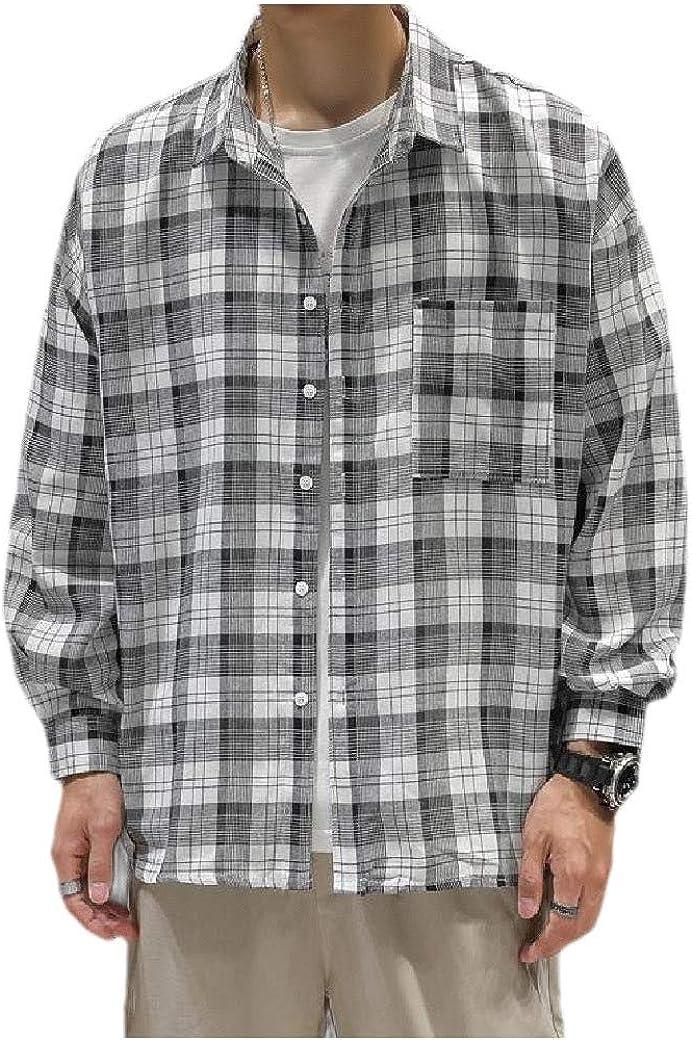 Losait Mens Casual Japanese Retro Long-Sleeve Plaid Rock Shirts