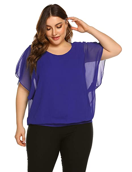 fe8833183b5bdb IN'VOLAND Plus Size Women Chiffon Blouse Batwing Sleeve Tops Scoop Neck  Tunic Shirts Royal
