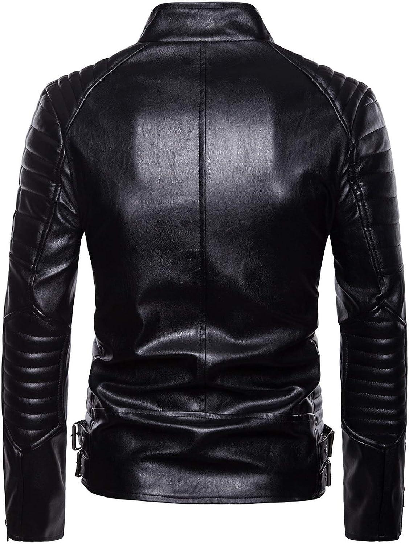 ZumZup Mens pu Leather Windproof Casual Autumn and Winter Brando Style Classic Retro Biker Jacket