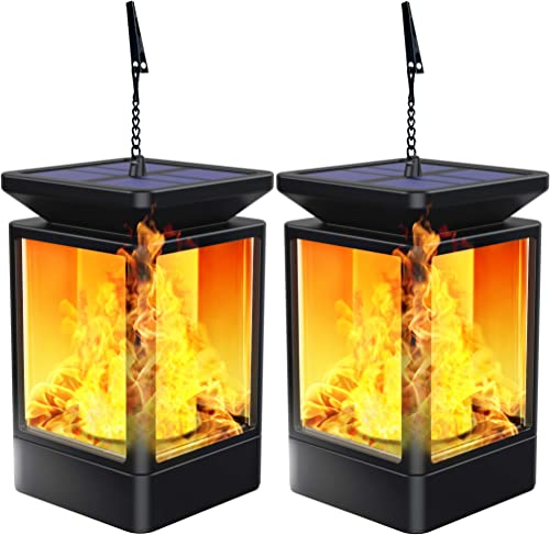 Solar Lantern Lights Flickering Flame Outdoor Garden Lamp Solar Powered Waterproof Hanging Lanterns Dusk to Dawn Auto On Off Landscape Lighting for Patio, Yard, Pathway 2 Pack