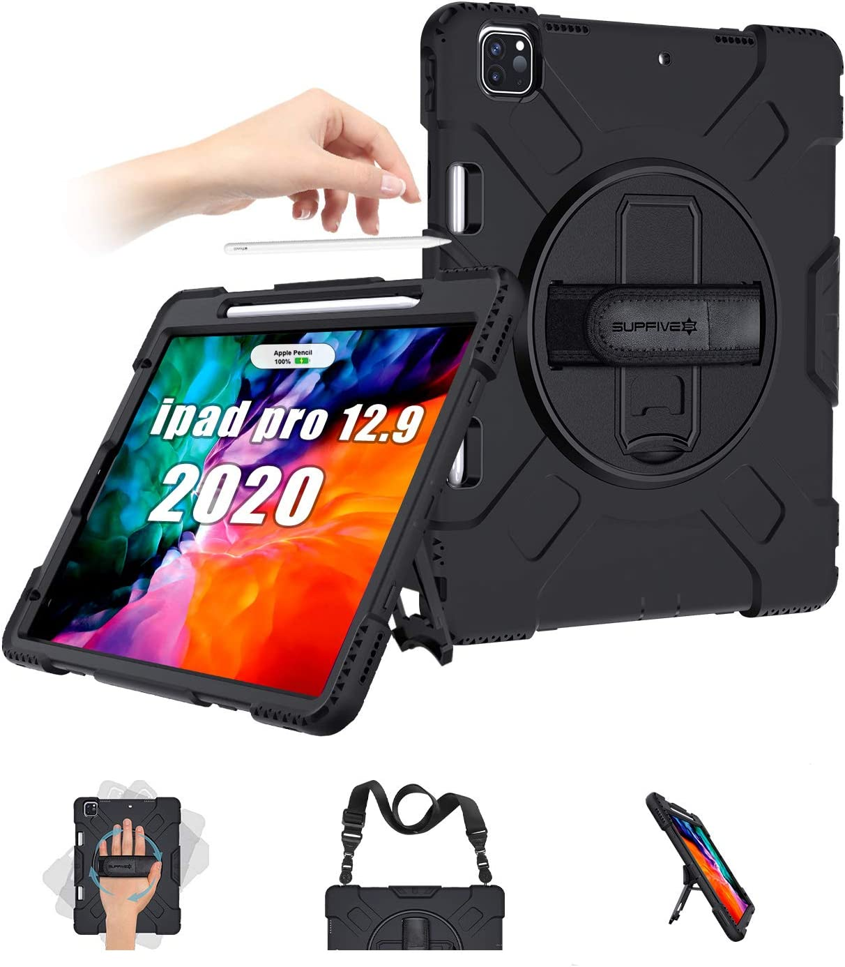 SUPFIVES iPad Pro 12.9 Case 2020 iPad 12.9 4th Generation Case with Pencil Holder Support Pencil Charging+Hand Strap+Shoulder Strap+360 Rotatable Stand Case for iPad Pro 12.9 2020/2018(Black)