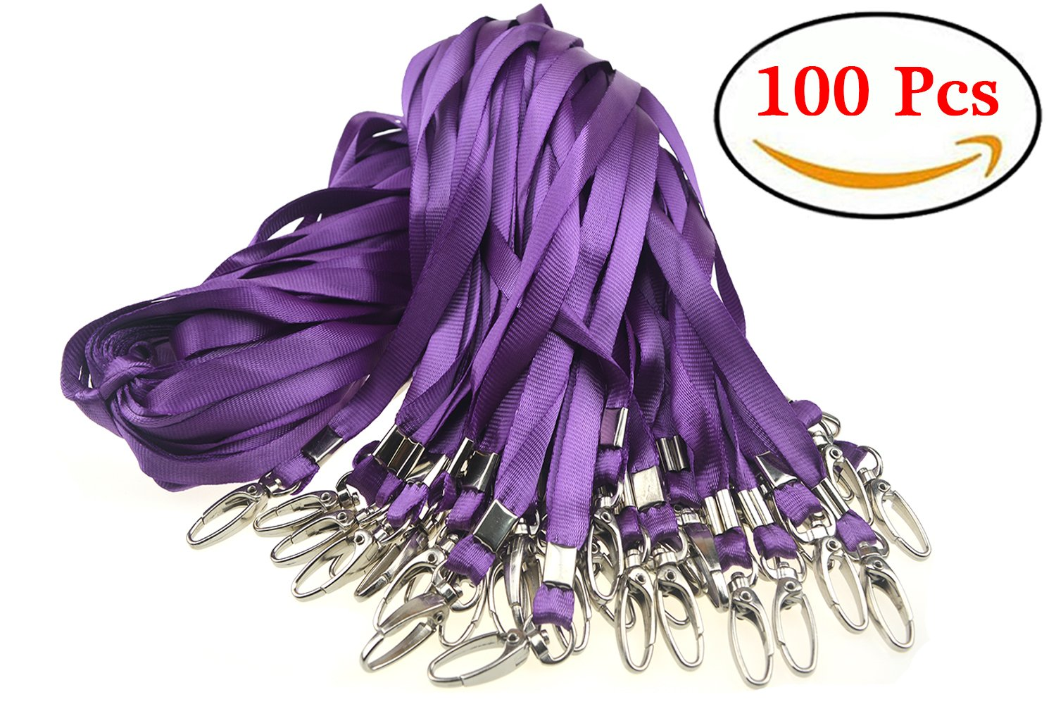 Aobear Top Quality 32 inch Lanyard with Badge Clip (100 Pcs, Purple)