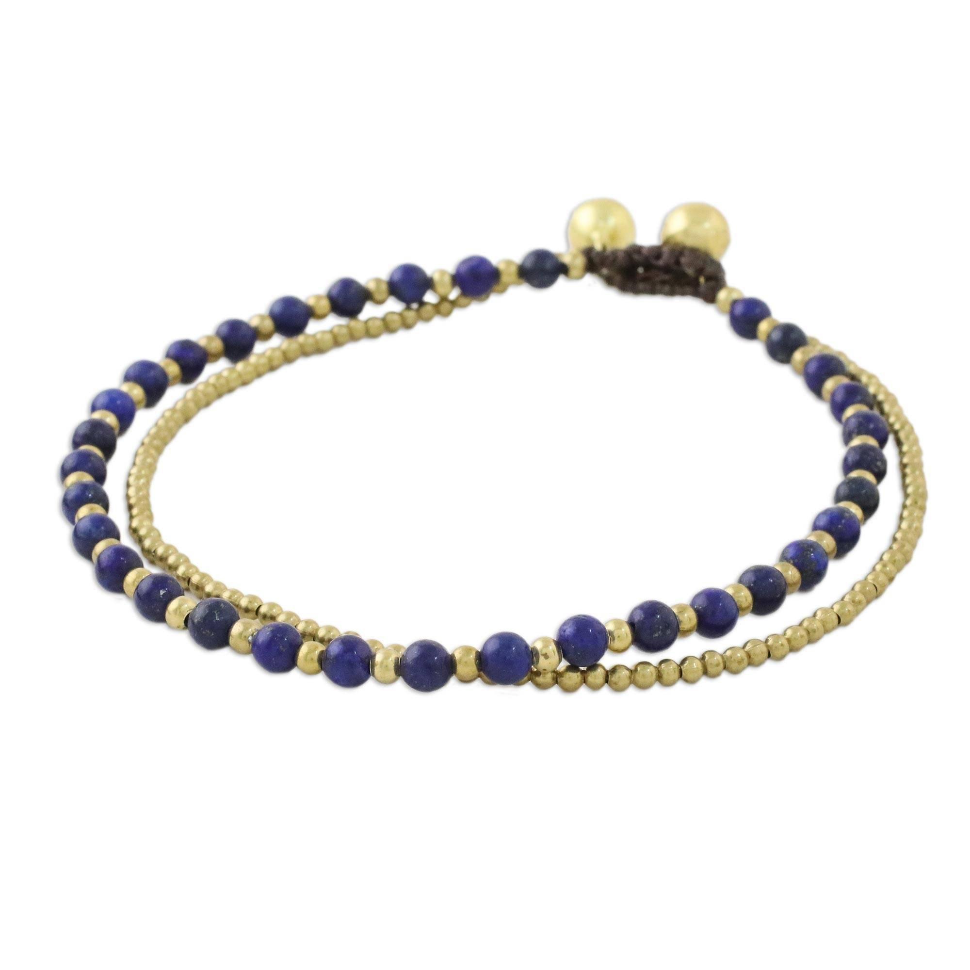 NOVICA Lapis Lazuli Brass Beaded Anklet, 9.25'' 'Ringing Beauty'