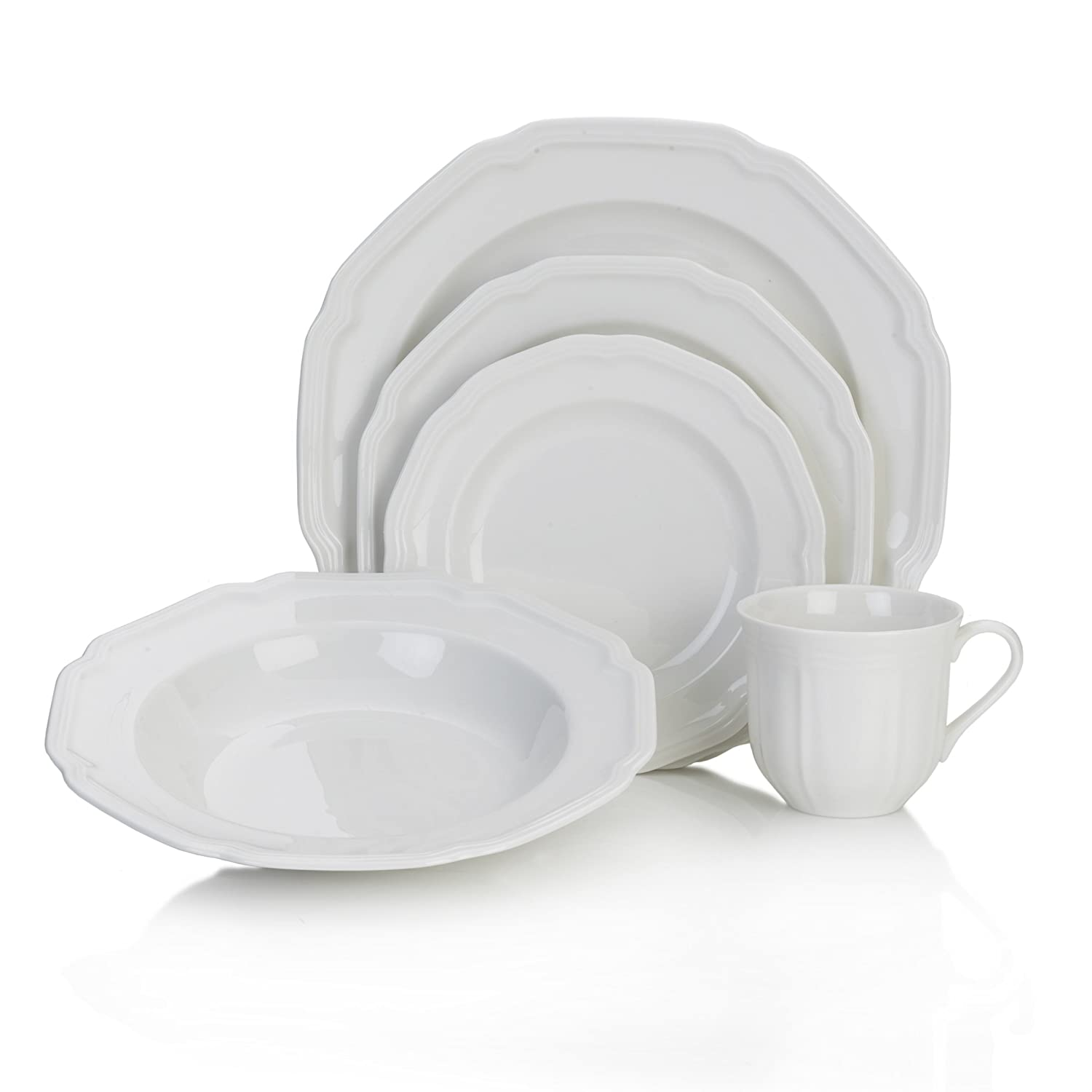 Christmas Tablescape Décor - Antique White 40-Pc Dinnerware Set, Service for 8 - by Mikasa