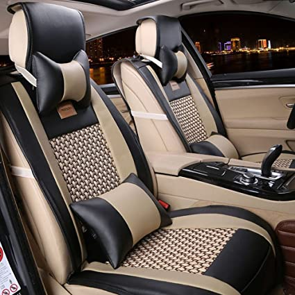 FREESOO Car Seat Covers Full Set PU Leather For 5 Seats Vehicle