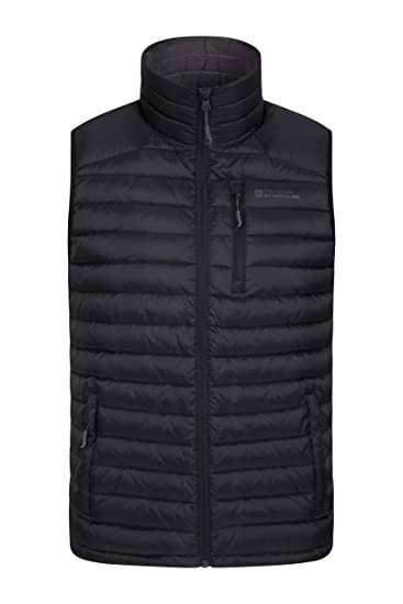 6b8ffa76dce Mountain Warehouse Henry II Mens Down Padded Gilet - Lightweight Vest,  Packaway Jacket, Full Zip Outerwear - Winter Clothing for Running, Cycling,  ...