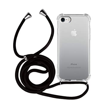 MyGadget Funda Transparente con Cordón para Apple iPhone 7/8 - Carcasa con Cuerda y Esquinas Reforzadas con Correa - Negro
