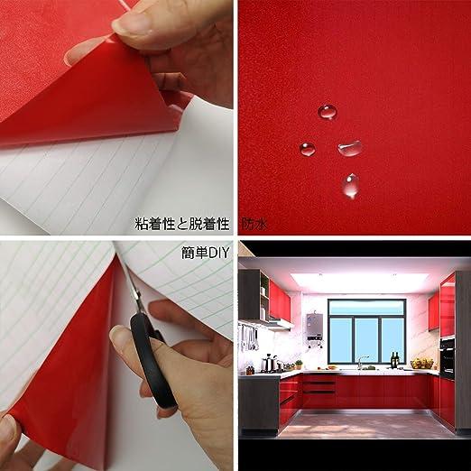 TOTIO Papel de contacto con purpurina roja vinilo autoadhesivo para muebles para puertas de armarios de cocina, despegar y pegar papel de vinilo adhesivo en la parte posterior de plástico impermeable: Amazon.es: