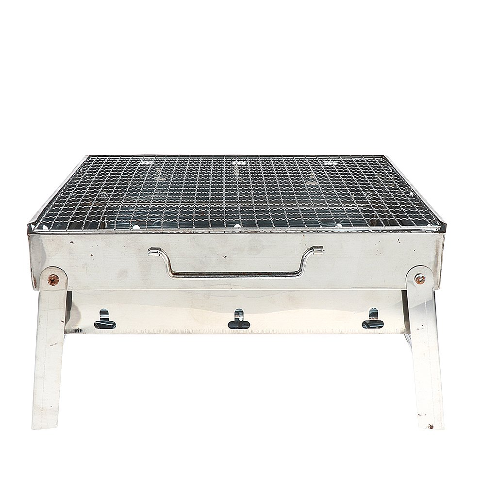 MagiDeal Outdoor Stainless Steel Portable Folding BBQ Grill Barbecue Charcoal Grill for Camping Hiking Backpacking