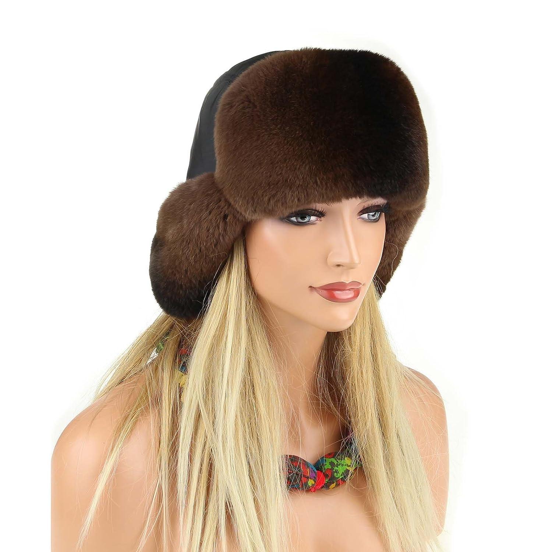 Damen Chinchilla Mütze Pelzmütze Fellmütze FUCHS Wintermütze Skimütze Fox Uschanka Polarmütze Aviator Russische Mütze Echt Fell