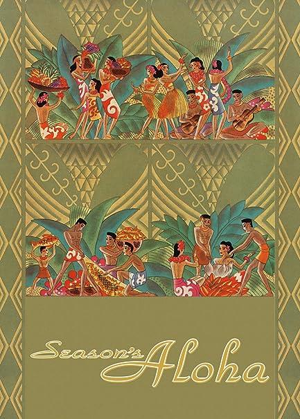 hawaii holiday luau set of 12 hawaiian christmas cards - Hawaiian Christmas Cards