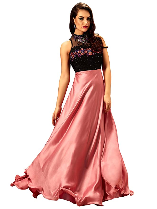 Women s Black Rose Sleeveless Party wear gorgeous Designer Stitched Gown   Amazon.in  Clothing   Accessories ae9d3ca0f