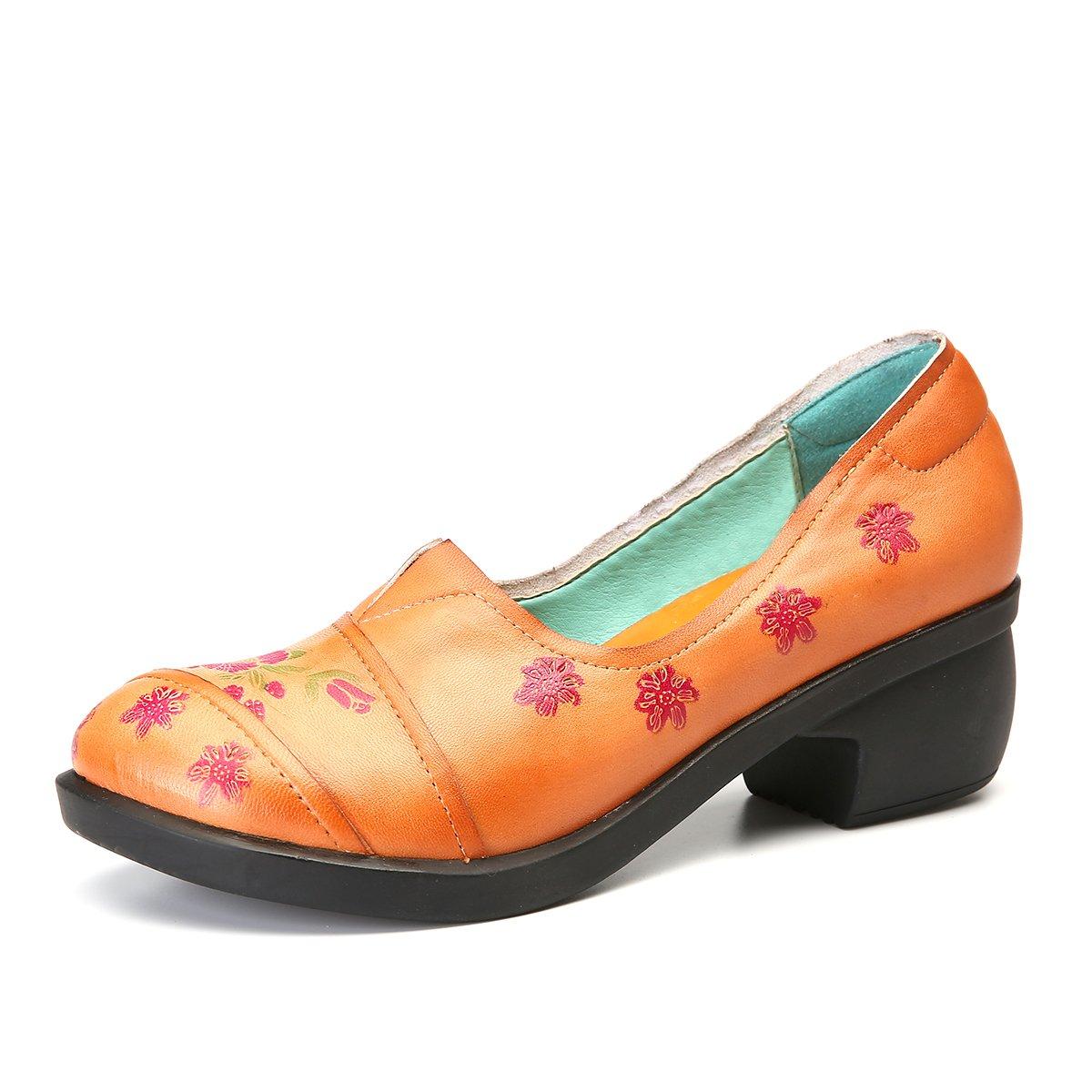 gracosy Mocasines Zapatos para Mujer de Cuero Calzado Tacón Medio de cuña de Punta Redonda Hechas a Mano Caminando al Aire Libre Casual Suela Suave Corte de ...