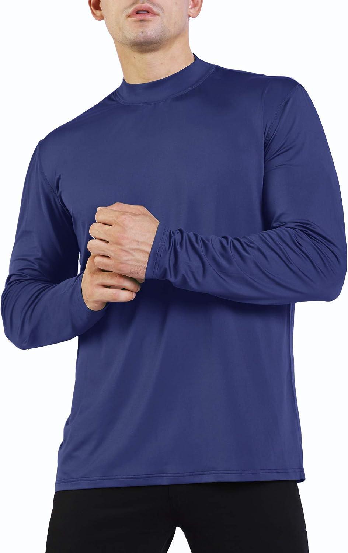 Ogeenier Uomo Maglia a Maniche Lunghe a Collo Alto Sportivo Maglietta da Corsa