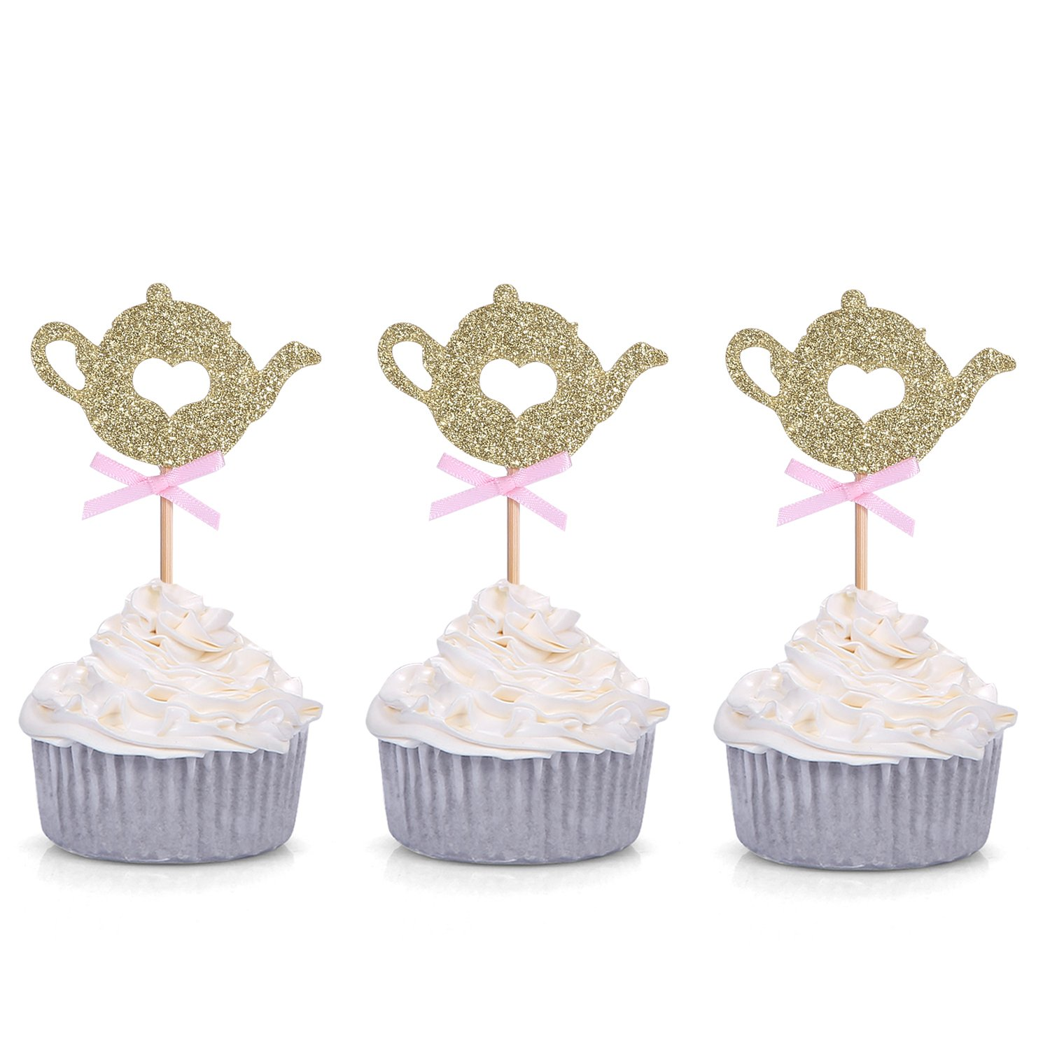 Set of 24 Golden Glitter Teapot Cupcake Toppers Tea Party Baby Shower Picks - by Giuffi