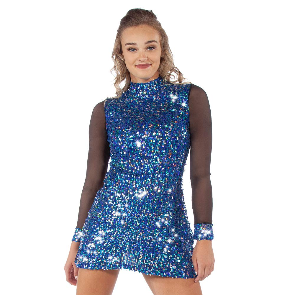 Alexandra Collection Allure Mesh Long Sleeve Sequin Tunic Dress Blue Adult Small by Alexandra Collection