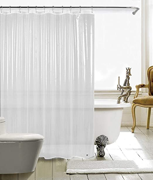 LOVTEX Clear Shower Curtain Liner 2 Pack 72x72 Water Repellent Light Weight 3G Liner with Rust Proof Grommets for Bathroom Shower