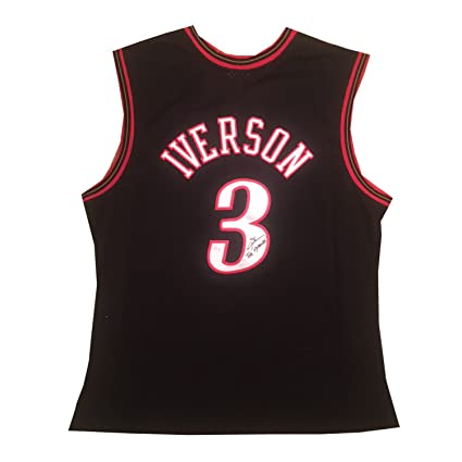 c548511eef7 Image Unavailable. Image not available for. Color  Allen Iverson  Autographed Philadelphia 76ers Signed Mitchell Ness Swingman Jersey ANSWER  JSA COA