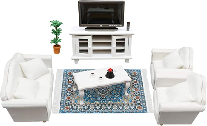 Dollhouse Comfy Living Room Furniture Set (16 Pieces) – Sofa, TV Cabinet, Coffee Table and Others - Environmentally Friendly Material Great Gift for Child's Doll House (White)