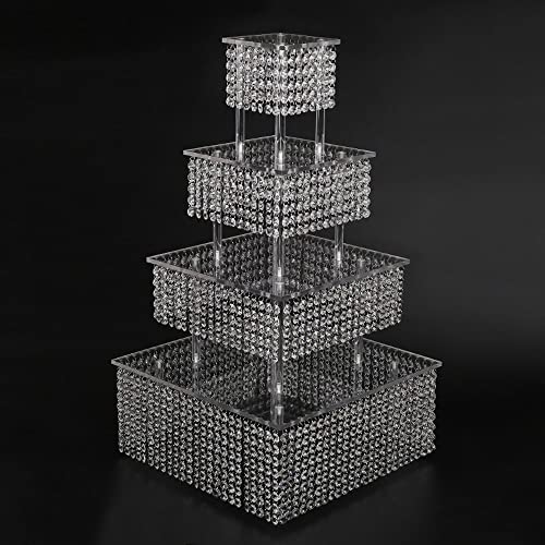 Crystal Wedding Cake Stand Square With Chandelier Crystal Cascading Style  Bling, Made From Chandelier Crystal