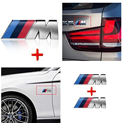 HUAYT 3D M Sport Power Badge Tri Color Emblem Sticker,3Pack Alloy Car Rear Trunk Fender Side Emblem Badge Decal Logo (M-Colored): Automotive