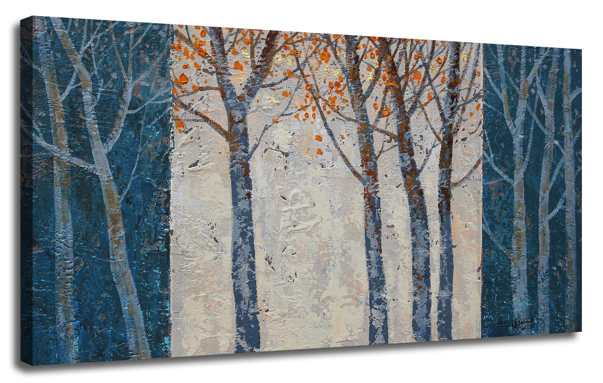 Arjun Riyue Canvas Wall Art Prints Forest Tree Grey Blue Painting Contemporary Abstract Long Wood Picture Framed Ready to Hang for Living Room Bedroom Offfice Home Decor 40''x20'', Original Design