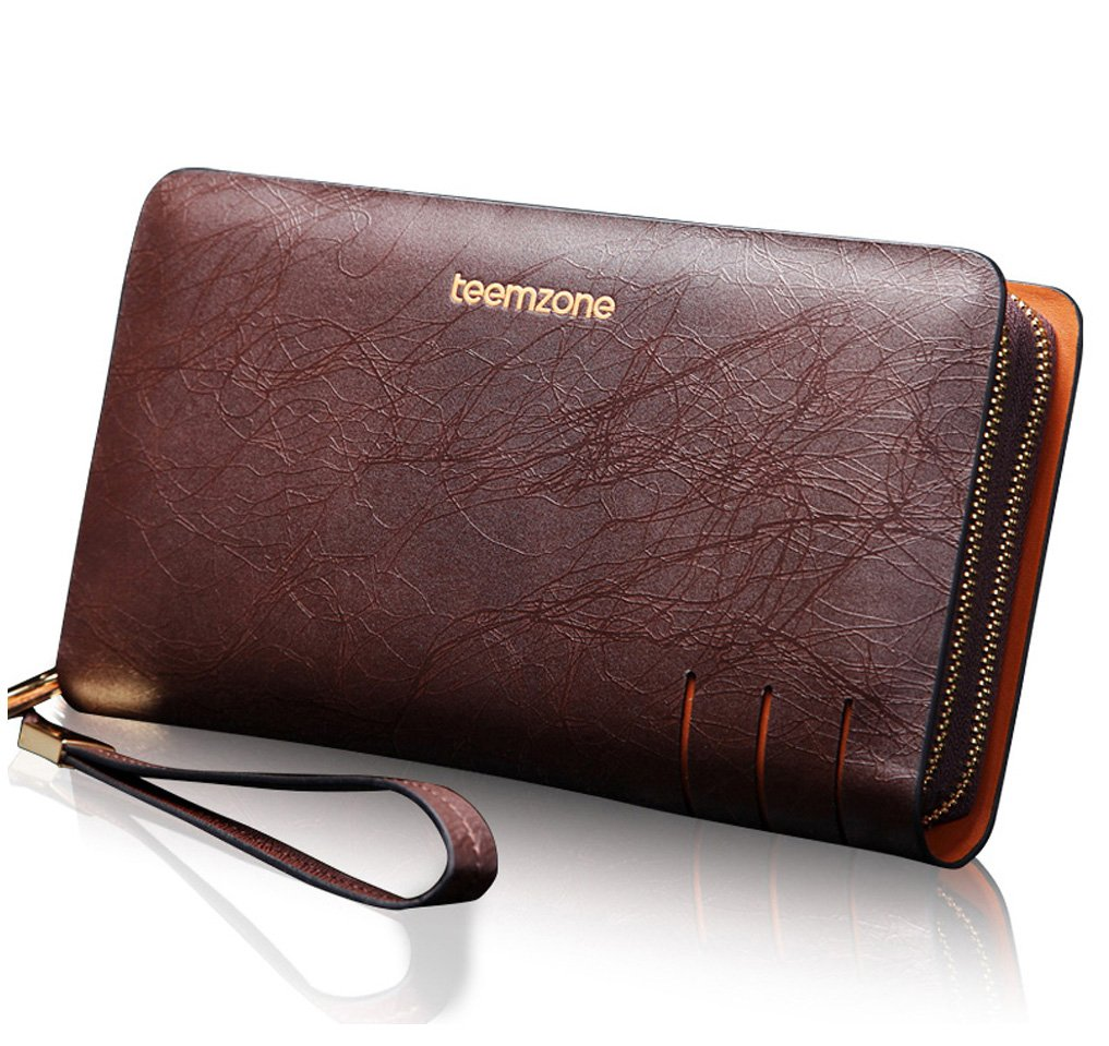 Teemzone Men's Genuine Leather Business Clutch Wrist Bag Handbag Organizer (Brown Lines)
