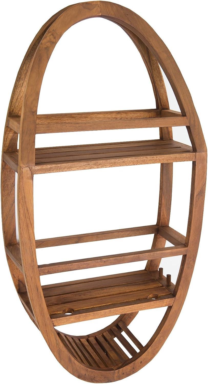 5. AquaTeak Patented Moa Oval Teak Shower Organizer