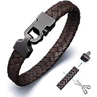 Amtier Bracelet Cuir Tressé pour Homme Bracelets avec Reglable Poussoir-Verrou Fermoir Noir & Marron