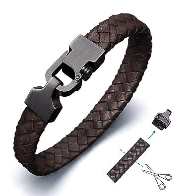 meilleure vente expédition gratuite design exquis Amtier Bracelet Cuir Tressé pour Homme Bracelets avec Reglable  Poussoir-Verrou Fermoir Noir & Marron