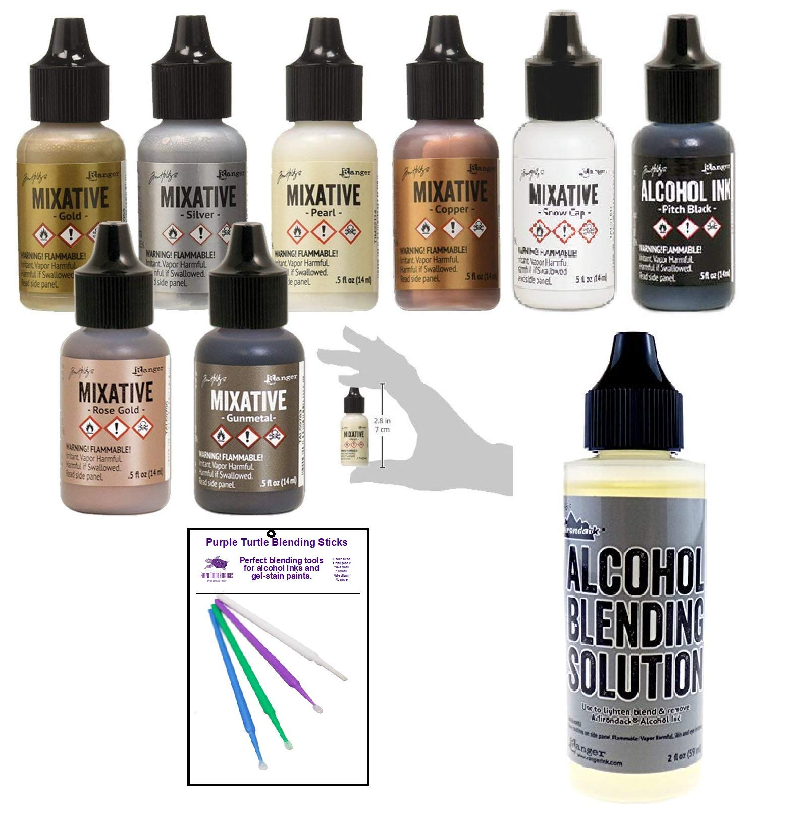 Ranger Tim Holtz Alcohol Ink Mixatives Bundle - All 8 Colors, Pearl, Copper, Silver, Gold, Snow Cap, Rose Gold, Gunmetal, Pitch Black, Blending Tools and Alcohol Solution by Purple Turtle Products